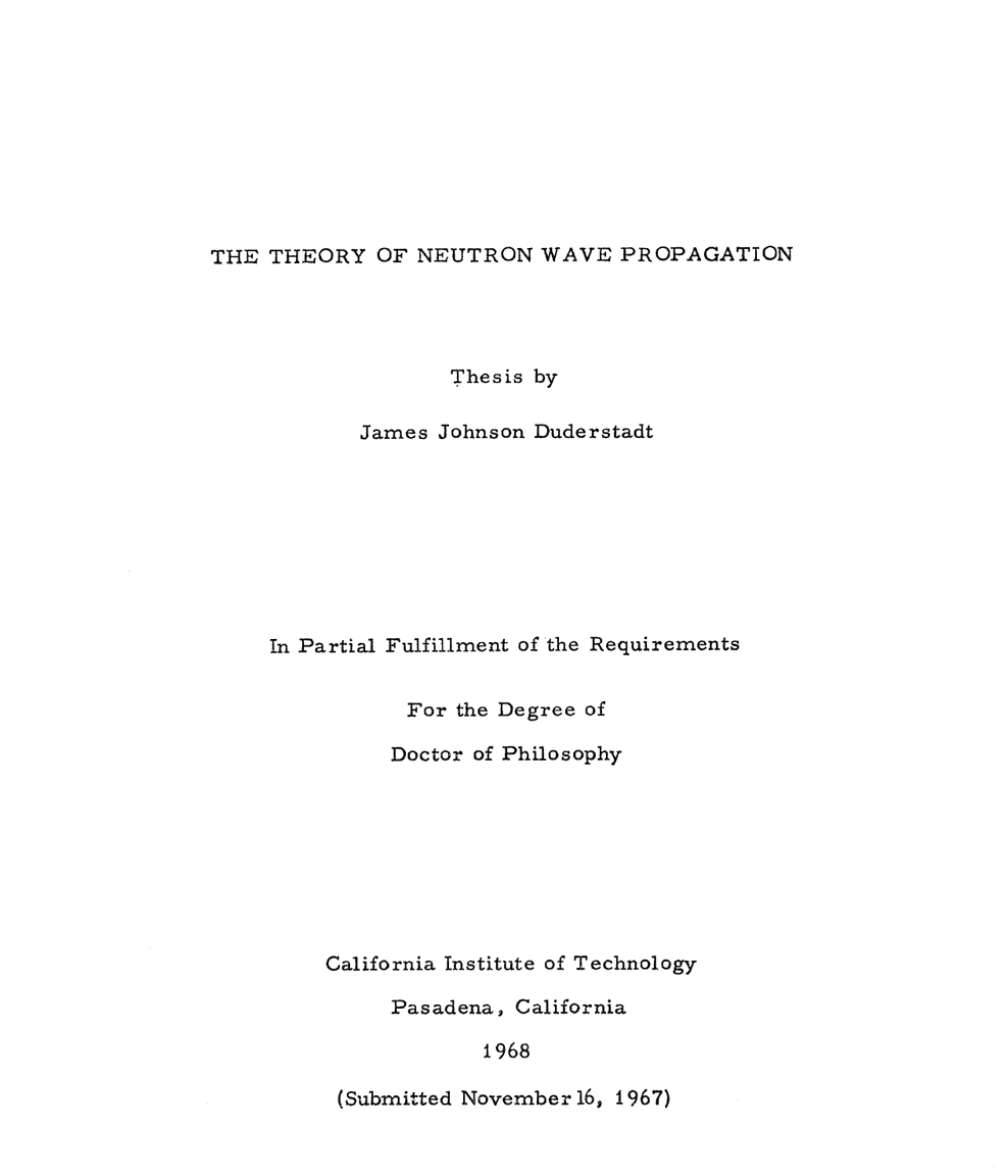 Neutron Wave Propagation Book cover