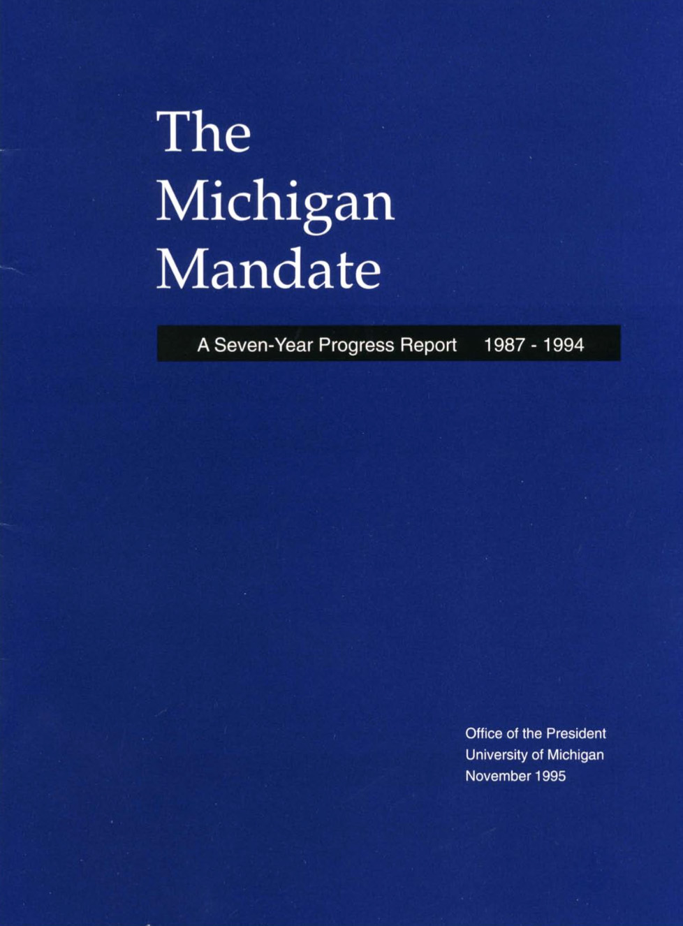 Michigan Mandate 7 Years Book cover